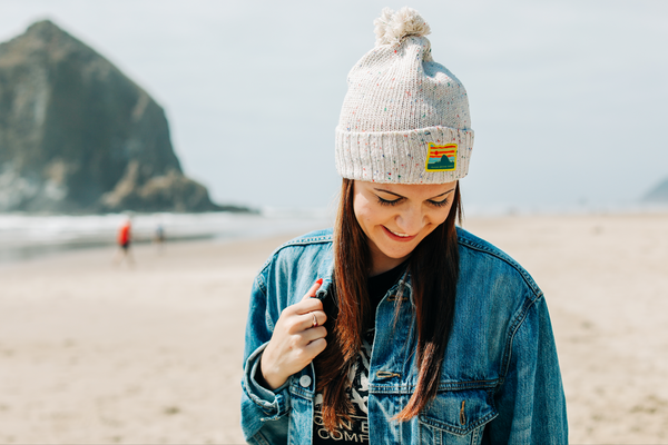 Pom Beanie w/ Cannon Beach Patch