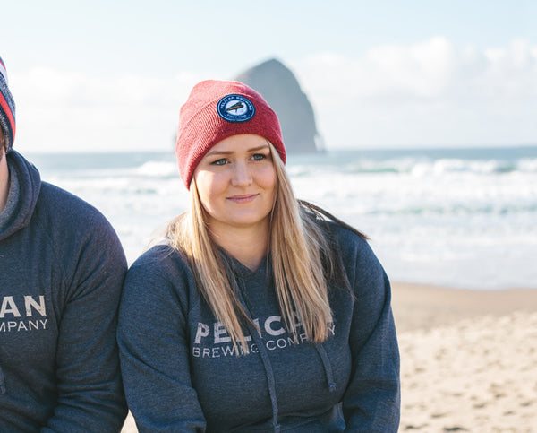 Heathered Knit Fold-Over Beanie with Embroidered Logo Patch – Pelican  Brewing 0174b8878c6