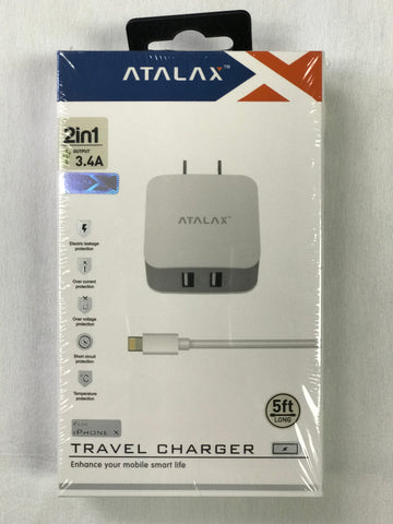 ATALAX iPhone Travel Charger 5Ft (Lightning USB)
