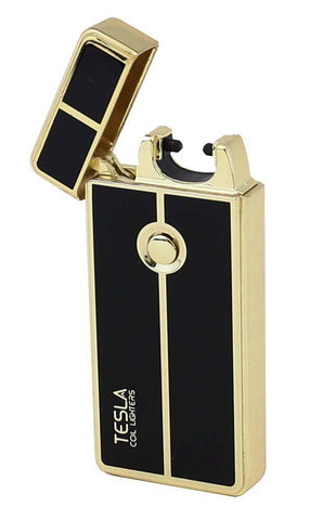 Tesla Coil Lighters™ USB Rechargeable Windproof Arc Cigarette Lighter with Charging Cable And Carrying Pouch - gold