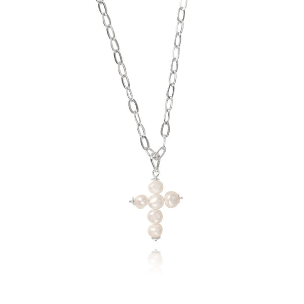 Olivia Silver Cross Necklace