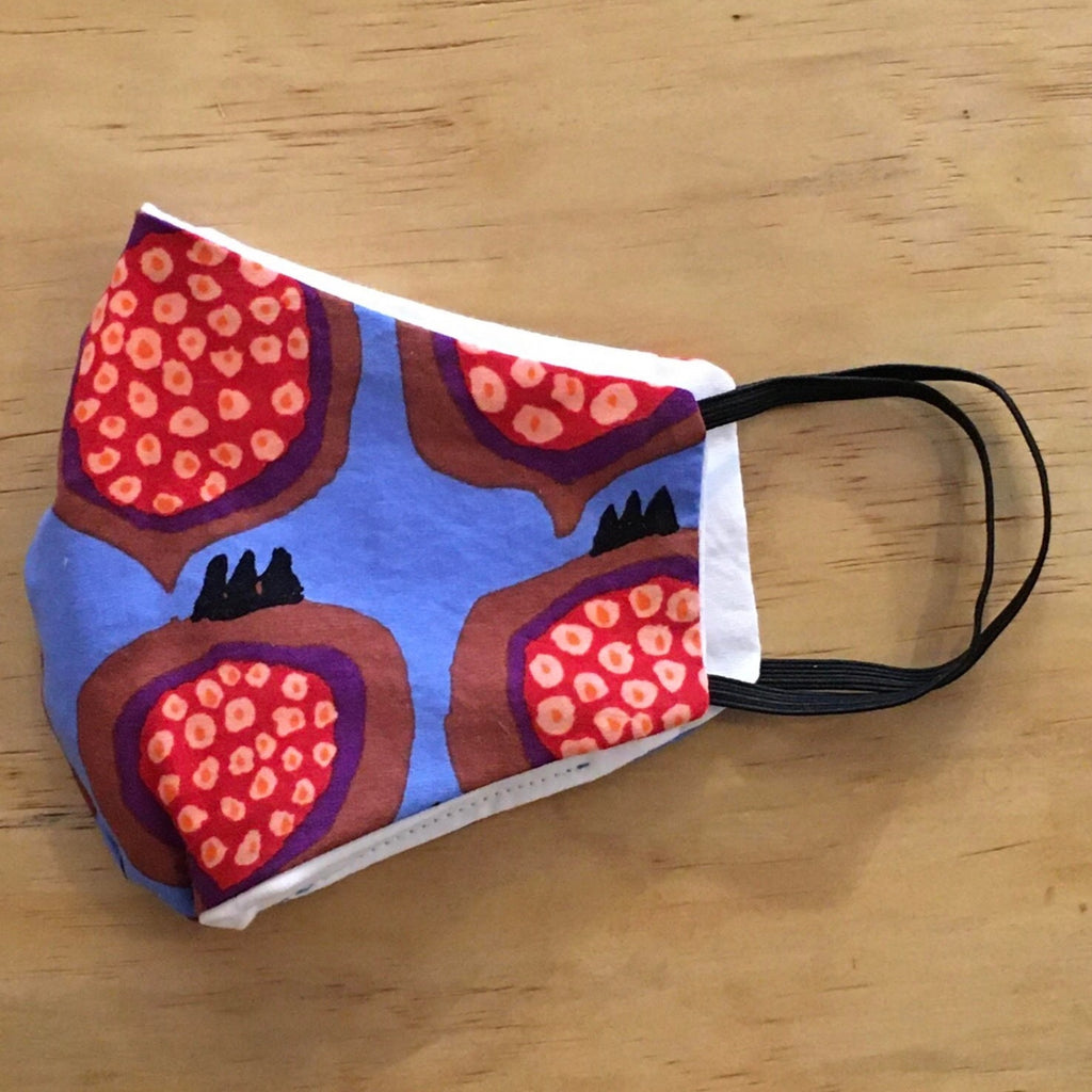 Vintage Cotton Mask With Filter Pocket: Pomegranate Pattern