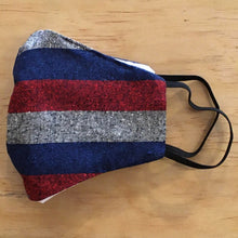 Load image into Gallery viewer, Vintage Silk/Cotton Mask Kit With Filter Pocket: Red/Grey/Blue Pattern