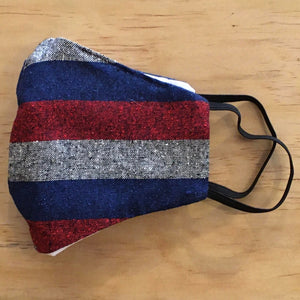 Vintage Silk/Cotton Mask With Filter Pocket: Red/Grey/Blue Pattern