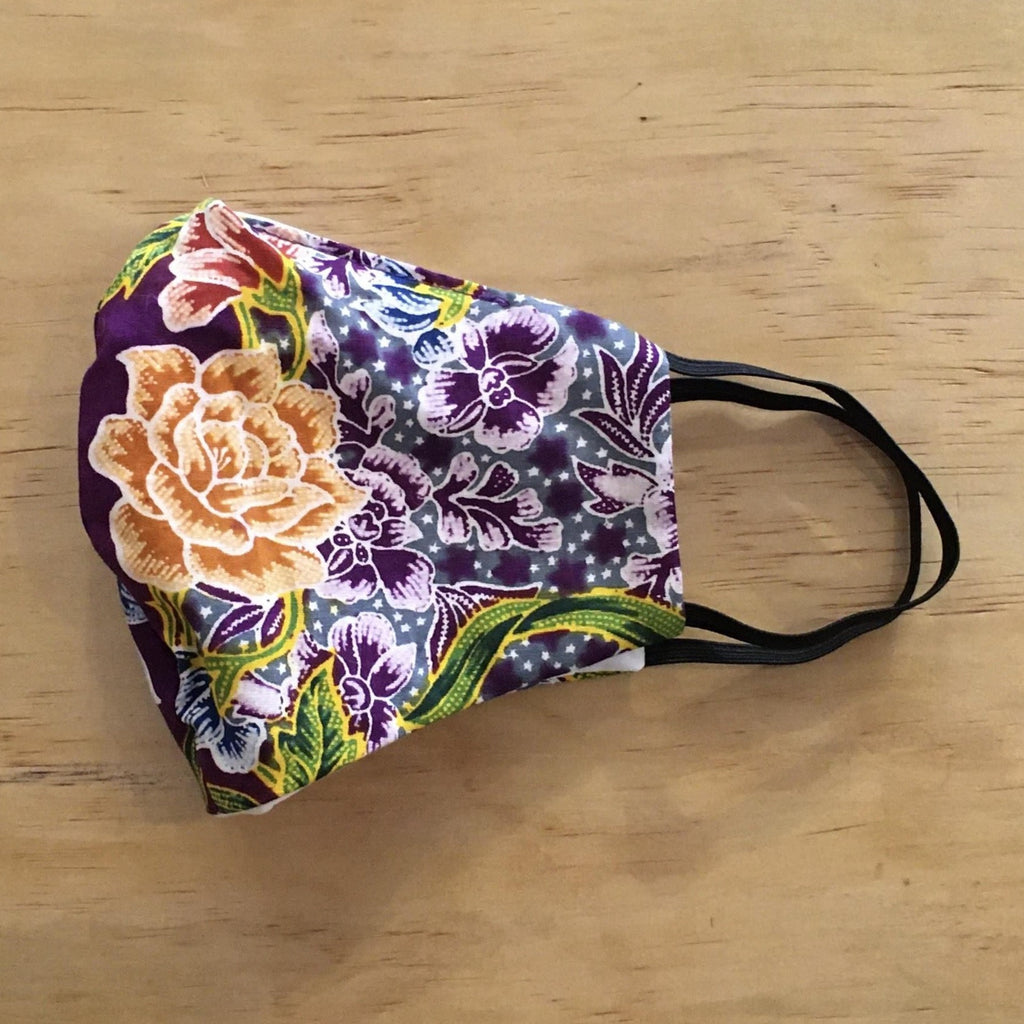 Vintage Cotton Mask With Filter Pocket: Purple Thai Flowers Pattern