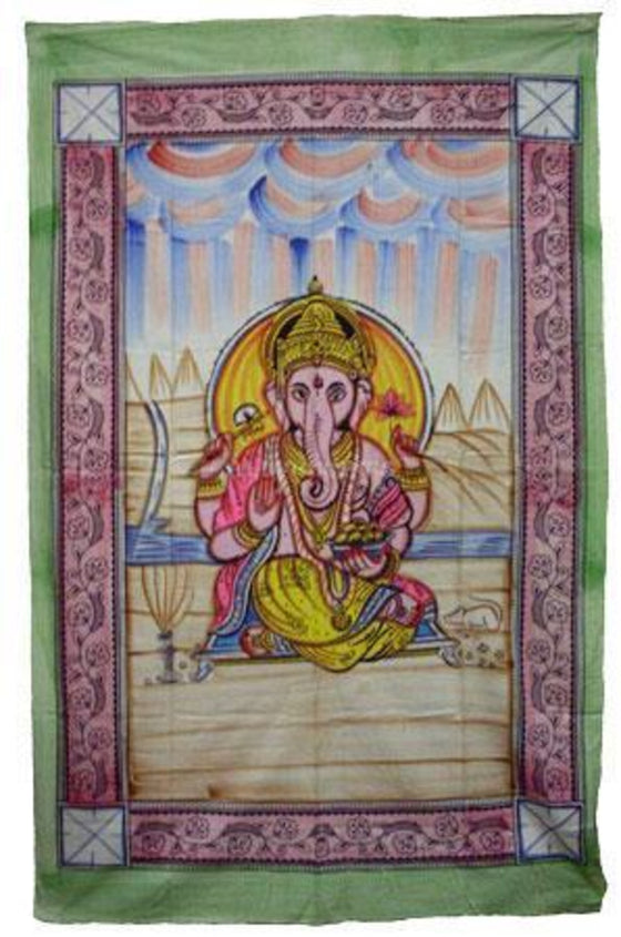 "Painted Ganesh Tapestry - 55""x85"""