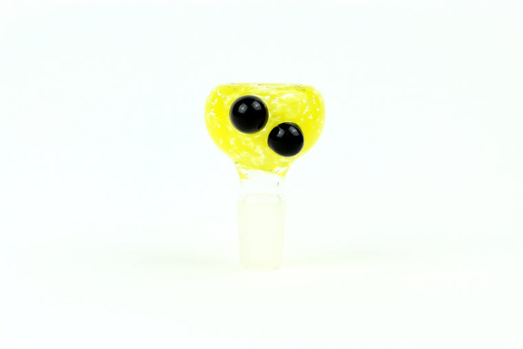 14mm Yellow Frit Slide w/ Black Dots