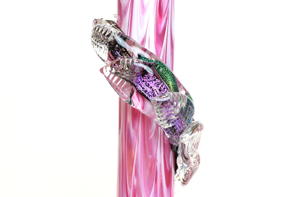 Noble Glass - Dichro Flower - Pink/Purple - Leafy