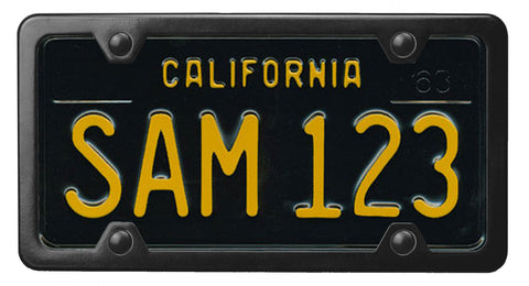 California throwback 60's license plate inside of StreamlineJK Black powdered Stainless Steel license plate frame