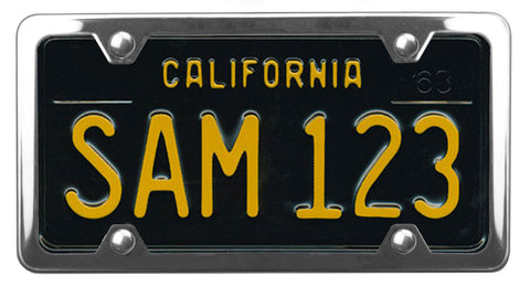 California throwback 60's license plate inside of StreamlineJK Polished Stainless Steel license plate frame