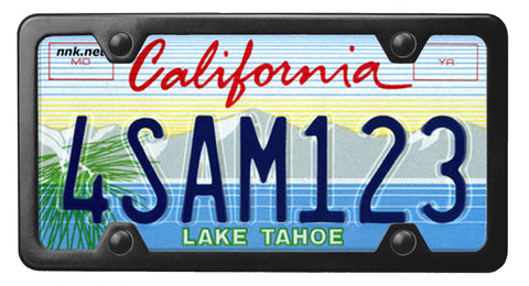 California Lake Tahoe license plate inside of StreamlineJK Black powdered Stainless Steel license plate frame