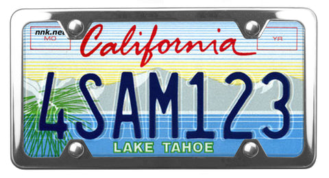 California Lake Tahoe license plate inside of StreamlineJK polished shiny Stainless Steel license plate frame