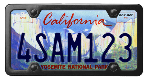 California Yosemite Conservancy license plate inside of StreamlineJK Black powdered Stainless Steel license plate frame