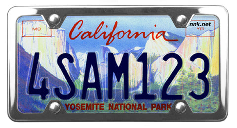 California Yosemite Conservancy license plate inside of StreamlineJK shiny polished Stainless Steel license plate frame
