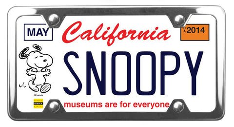 California Museums Snoopy license plate inside of StreamlineJK polished shiny Stainless Steel license plate frame