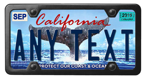 California Whale Tail license plate inside of StreamlineJK Black powdered Stainless Steel license plate frame