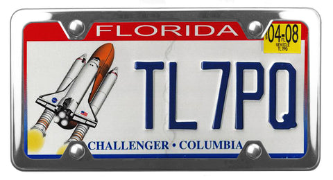 Florida specialty license plate with Challenger and Columbia on it inside of StreamlineJK polished Stainless Steel license plate frame