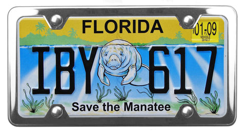 Florida specialty license plate with Save the Manatee on it, inside of StreamlineJK polished Stainless Steel license plate frame