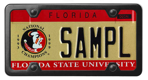 Florida specialty license plate with Florida State University on it, inside of StreamlineJK Black Powdered Stainless Steel license plate frame