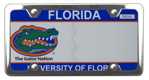 Florida specialty license plate with University of Florida on it, inside of StreamlineJK Polished Stainless Steel license plate frame
