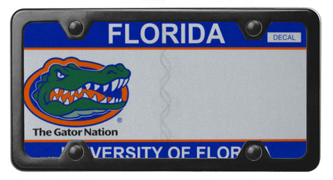 Florida specialty license plate with University of Florida on it with it placed in a StreamlinJK Black Powdered Stainless Steel license plate frame
