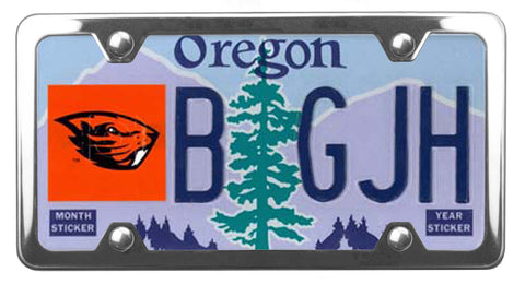 Oregon State University Beavers license plate inside of StreamlineJK Shiny Polished Stainless Steel license plate frame