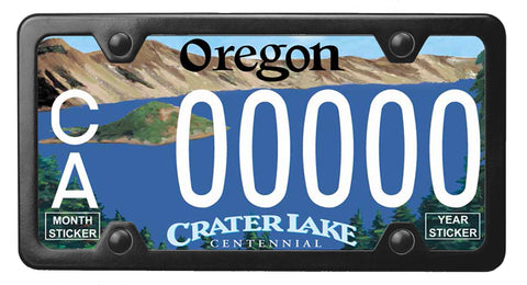 Oregon Crater Lake license plate inside of StreamlineJK Powdered Black Stainless Steel license plate frame