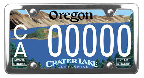 Oregon Crater Lake license plate inside of StreamlineJK Polished Stainless Steel license plate frame