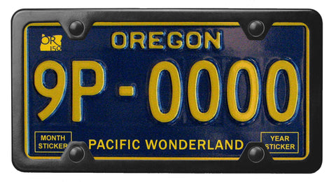 Oregon Pacific Wonderland license plate inside of StreamlineJK Powdered Black Stainless Steel license plate frame