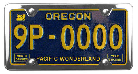 Oregon Pacific Wonderland license plate inside of StreamlineJK Shiny Polished Stainless Steel license plate frame