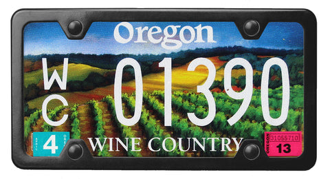 Oregon Wine Country license plate inside of StreamlineJK Black Powdered Stainless Steel license plate frame