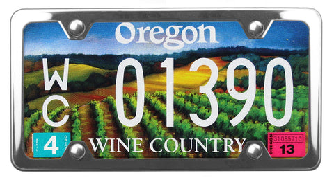 Oregon Wine Country license plate inside of StreamlineJK Shiny Polished Stainless Steel license plate frame