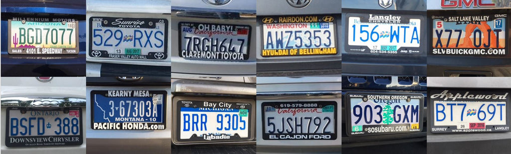 license plate frame advertising with dealer holders showing advertising