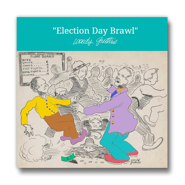 """Election Day Brawl"" artwork - 2.5"" x 2.5"" magnet"