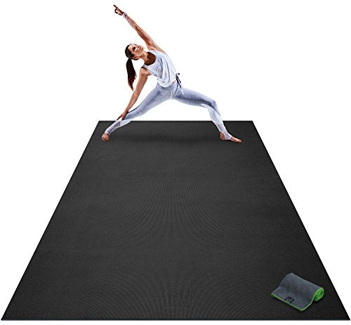 "Premium Extra Large Yoga Mat - 9' x 6' x 8mm Extra Thick & Comfortable, Non-Toxic, Non-Slip, Barefoot Exercise Mat - Yoga, Stretching, Cardio Workout Mats for Home Gym Flooring (108"" Long x 72"" Wide)"