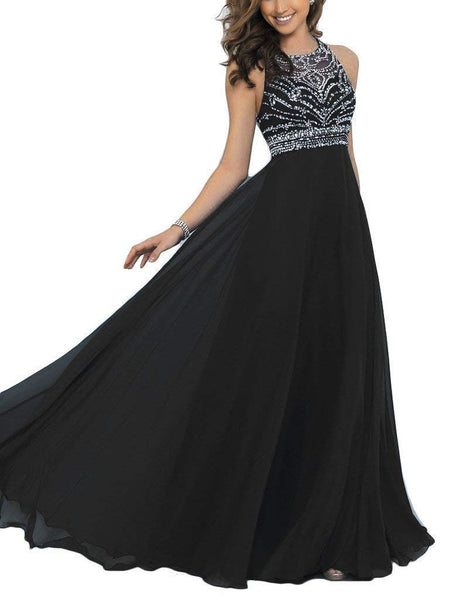 Pearldress Long Chiffon Beading Evening Dress Keyhole Back Prom Dress Black