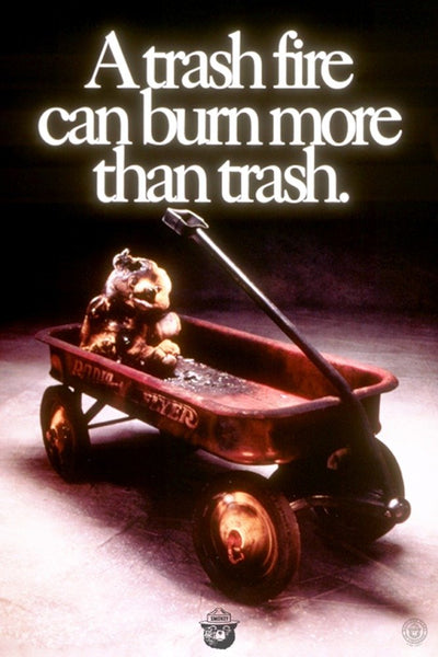 Smokey Bear - Trash Fire - Vintage Poster (9x12 Art Print, Wall Decor Travel Poster)
