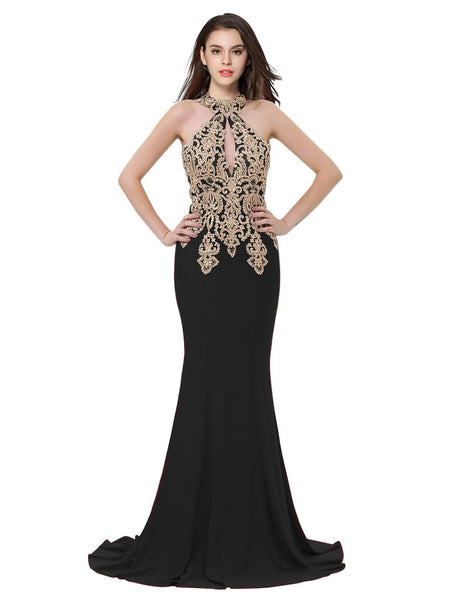Erosebridal Womens Prom Dresses Long Lace High Neck Evening Gown Sexy Mermaid US 8 Black