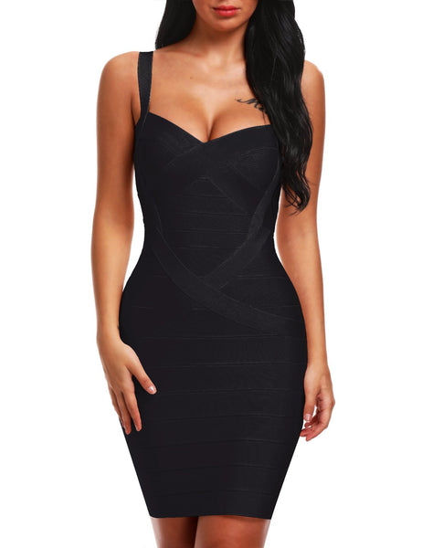 Bqueen Women's 2016 New Spaghetti Strap Sexy Bodycon Bandage Club Dresses BQ1636-1 (M, Black)