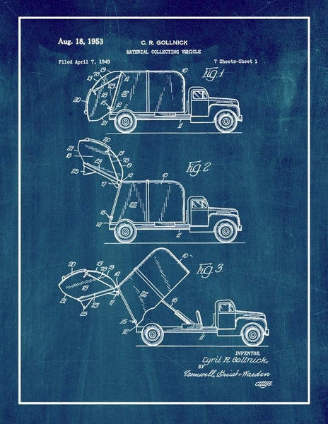 "Garbage Truck Patent Print Midnight Blue with Border (5"" x 7"") M12577"