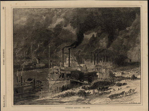 Countless Smoke Stacks Pump Pollution in Air Pittsburgh 1871 nice antique print