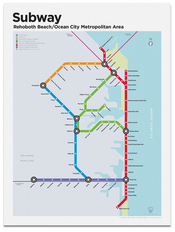 Rehoboth/Ocean City Subway Map