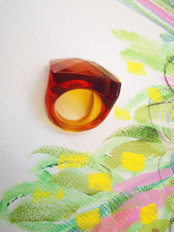 Lucite Amber Ring - Vintage One of a Kind