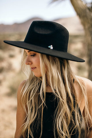 The Cameron Turquoise and Crystal Panama Hat in Black