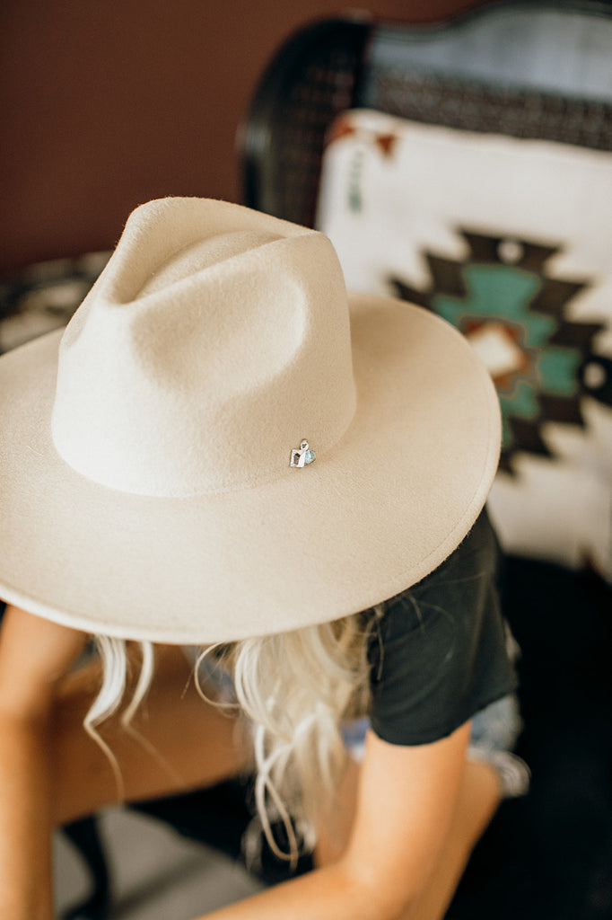 The Cameron Turquoise and Crystal Panama Hat in Cream - Glitzy Bella
