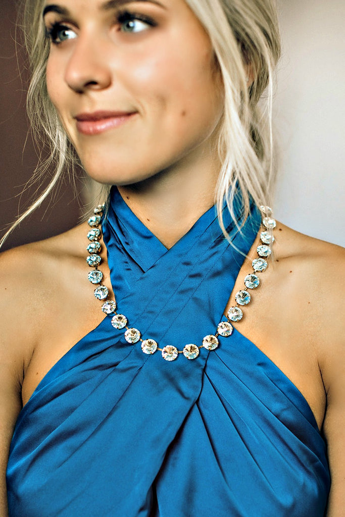Swarovski Necklace w/ Light Azure Crystals - Glitzy Bella