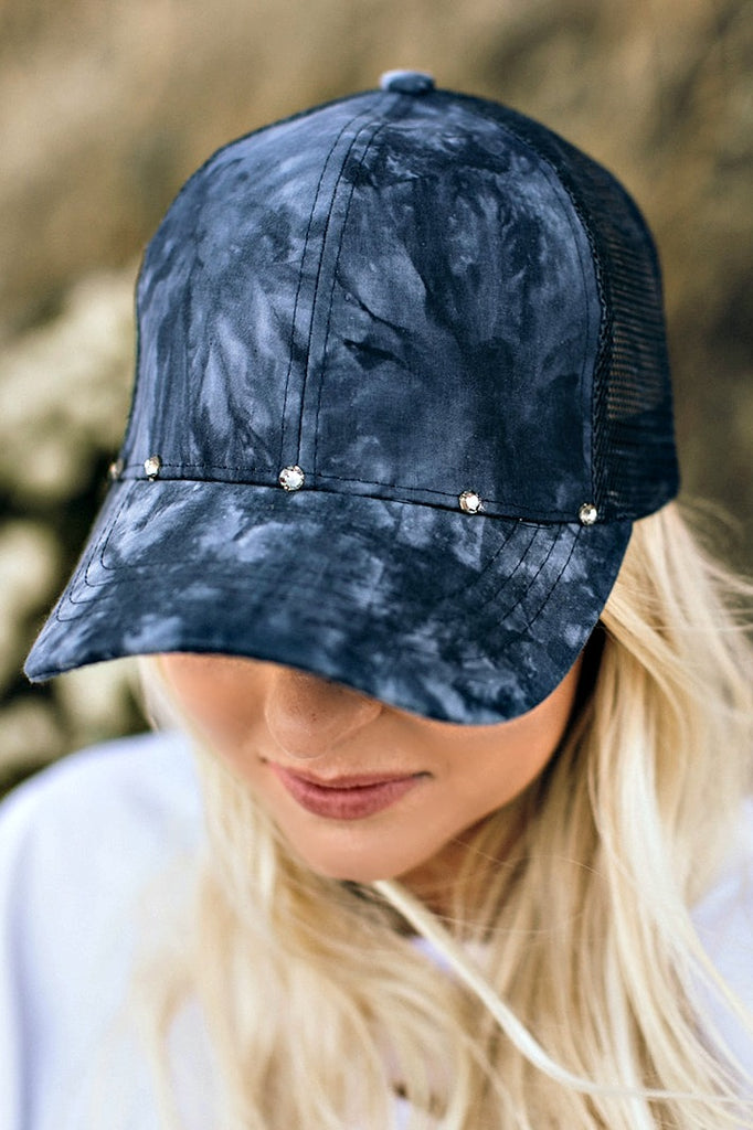 Marble Effect Ball Cap - Navy - Glitzy Bella
