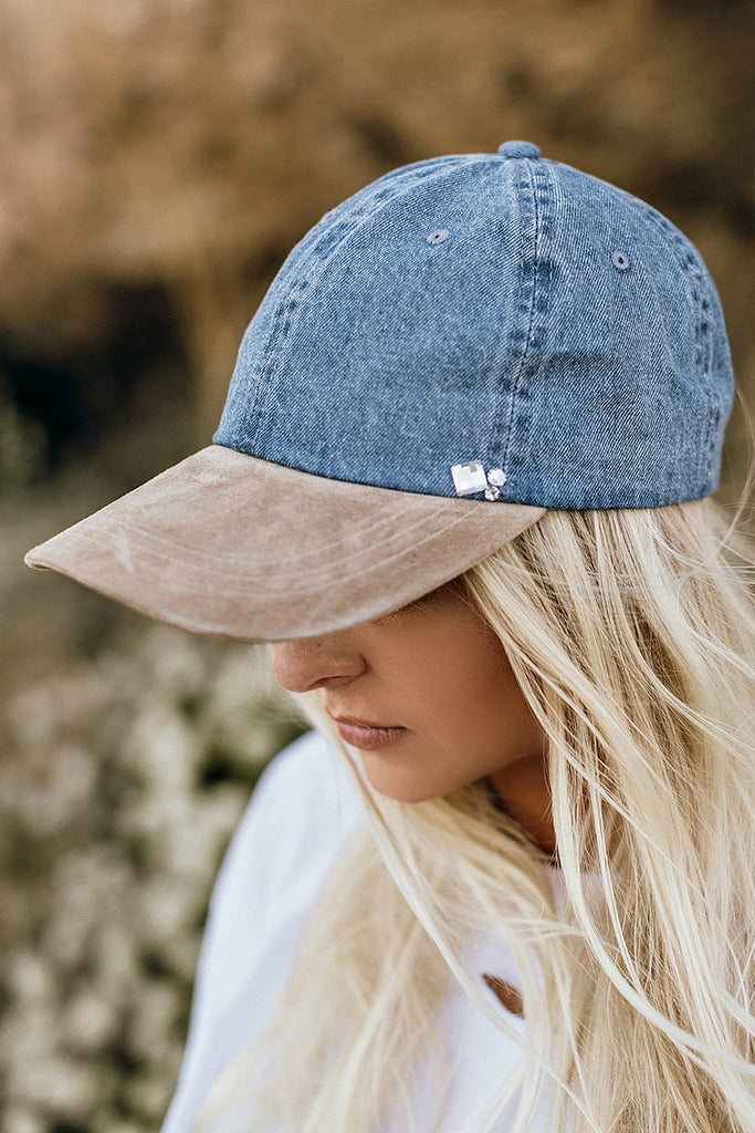 Denim & Faux Suede Ball Cap
