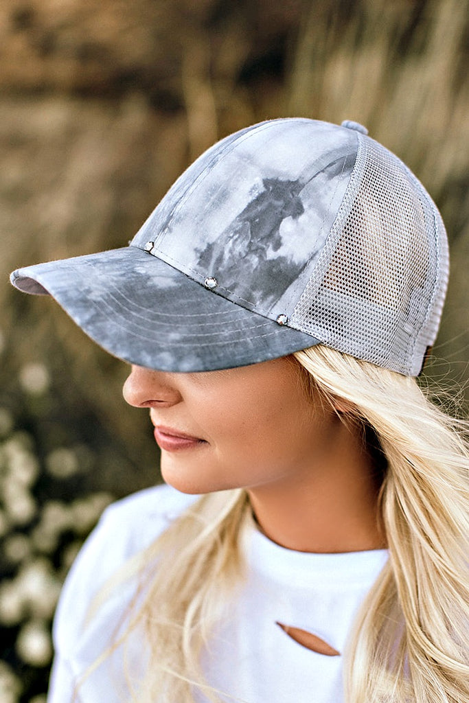 Marble Effect Ball Cap - Light Grey - Glitzy Bella
