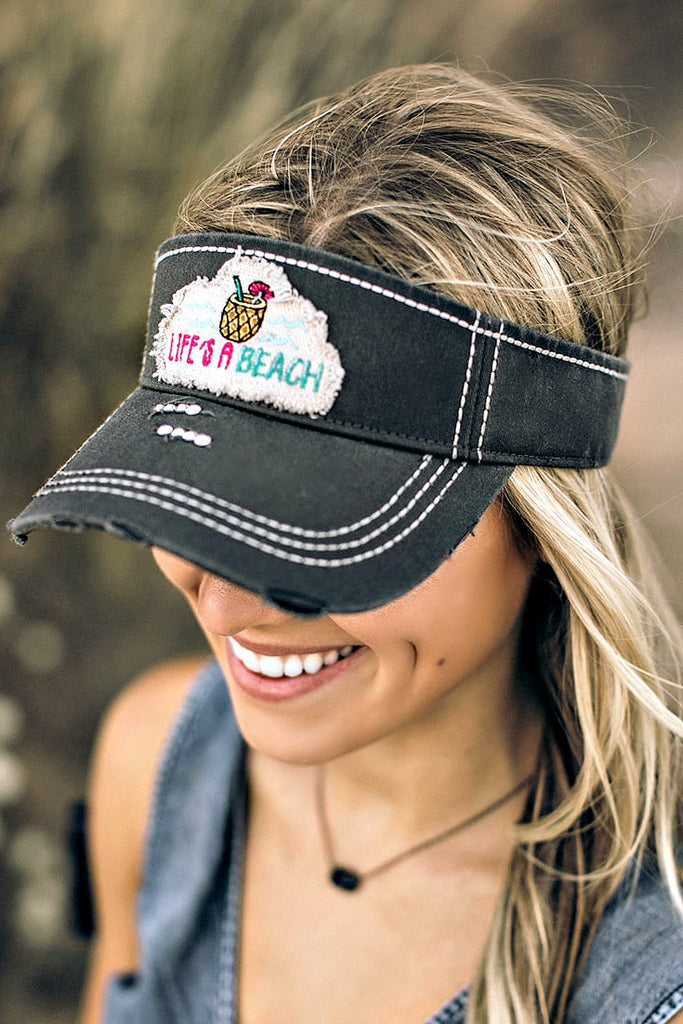 """Life's A Beach"" Crystallized Visor - Glitzy Bella"